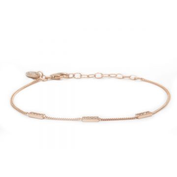 Bracelet 3 Zirconia Rectangles Roseplated