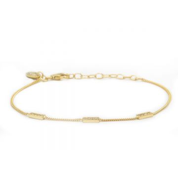 Bracelet 3 Zirconia Rectangles Goldplated