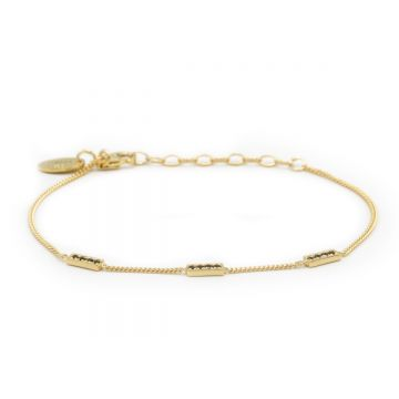 Bracelet 3 Black Zirconia Rectangles Goldplated