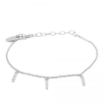 Bracelet Triple Zirconia Tube Silver