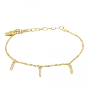 Bracelet Triple Zirconia Tube Goldplated