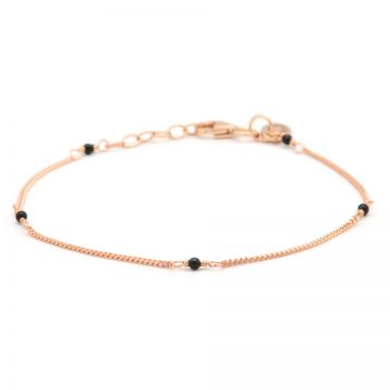 Bracelet Tiny Onyx Roseplated