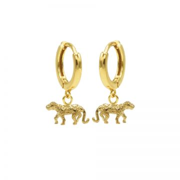 Hinged Hoops Symbols Leopard 3 Goldplated