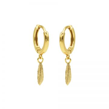 Hinged Hoops Symbols Feather Goldplated