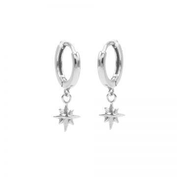 Hinged Hoops Symbols Morningstar Silver