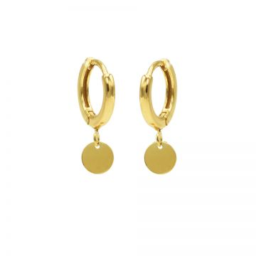 Hinged Hoops Symbols Disc Goldplated