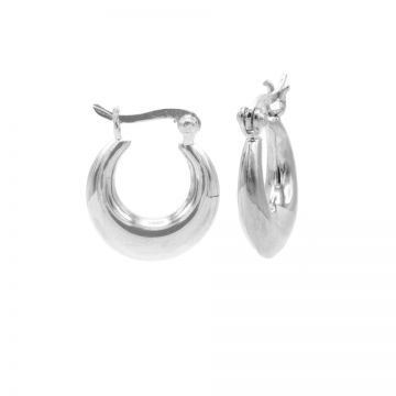 Plain Drop Hoops Silver SMALL 14MM