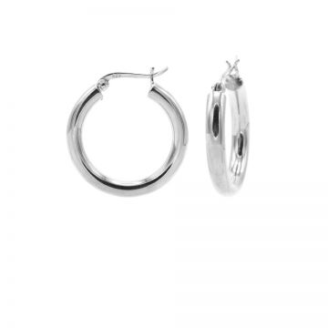 Plain Tube Hoops Silver SMALL 18MM