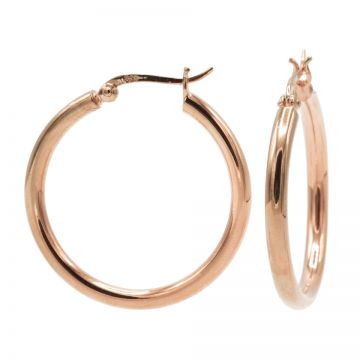 Plain Tube Hoops Roseplated LARGE 29MM
