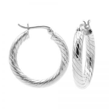 Plain Twister Hoops Silver MEDIUM