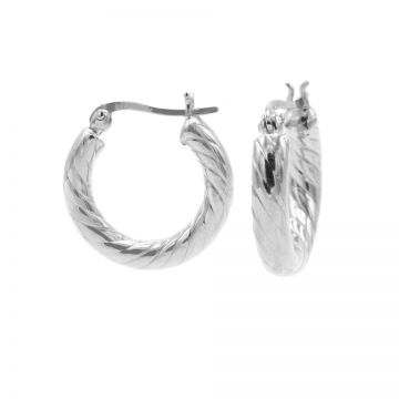 Plain Twister Hoops Silver SMALL