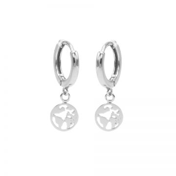 Hinged Hoops Symbols Earth Silver