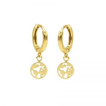 Hinged Hoops Symbols Earth Goldplated