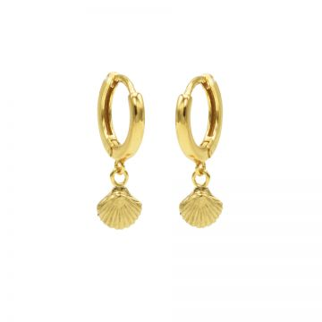 Hinged Hoops Shell Goldplated