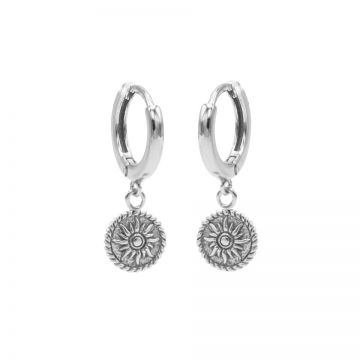 Hinged Hoops Sun Coin Silver
