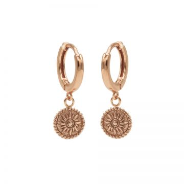Hinged Hoops Sun Coin Roseplated