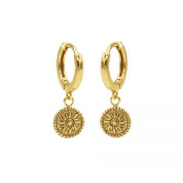Hinged Hoops Sun Coin Goldplated