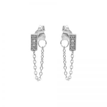 Chain Zirconia Rectangle Silver