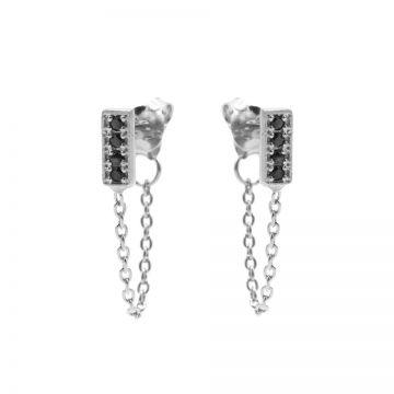 Chain Black Zirconia Rectangle Silver