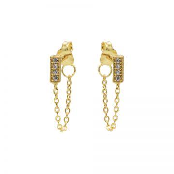 Chain Zirconia Rectangle Goldplated