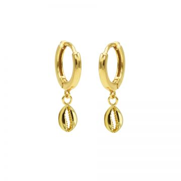 Hinged Hoops Shell 3 Goldplated