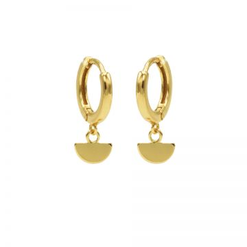 Hinged Hoops Half Disc Goldplated