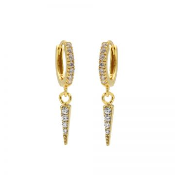 Zirconia Hinged Hoops Cone Goldplated