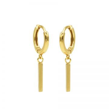 Hinged Hoops Long Square Tube Goldplated