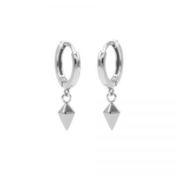 Hinged Hoops Square Cone Silver