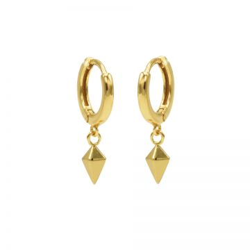 Hinged Hoops Square Cone Goldplated