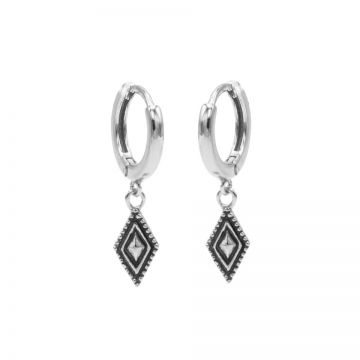 Hinged Hoops Dots Line Diamond Silver