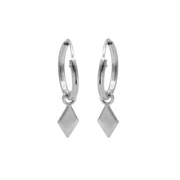 Hoops Symbols Diamond Shape Silver
