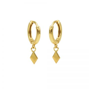 Hinged Hoops Diamond Shape Goldplated