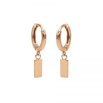 Hinged Hoops Mini Rectangle Roseplated