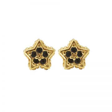 Karma Black Zirconia Symbols Star Goldplated