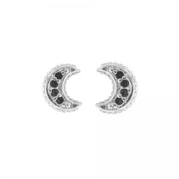 Karma Black Zirconia Symbols Moon Silver