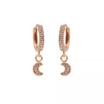 Zirconia Hinged Hoops Moon Roseplated