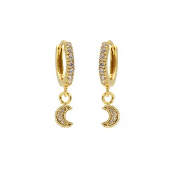 Zirconia Hinged Hoops Moon Goldplated