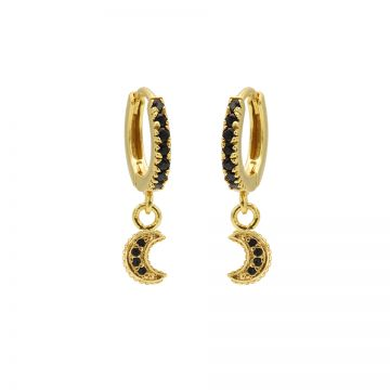 Zirconia Black Hinged Hoops Moon Goldplated