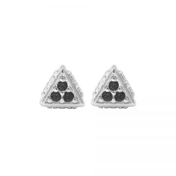 Karma Black Zirconia Symbols Triangle Silver