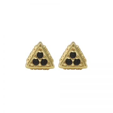 Karma Black Zirconia Symbols Triangle Goldplated