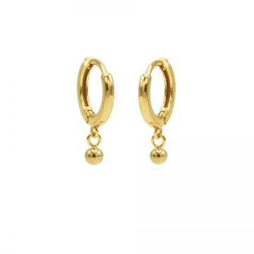 Hinged Hoops Mini Ball Goldplated