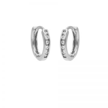 Plain Hoops Round Zirconia 13MM Silver
