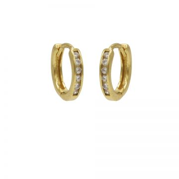 Plain Hoops Round Zirconia 13MM Goldplated