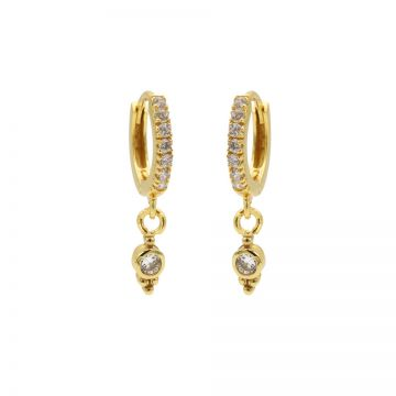 Zirconia Hinged Hoops Triple Dots Goldplated