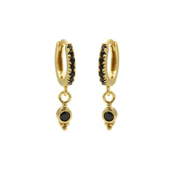 Zirconia Black Hinged Hoops Triple Dots Goldplated