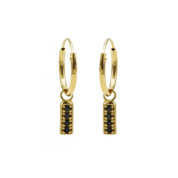 Hoops Symbol Black Zirconia Rectangle Goldplated (3pack)