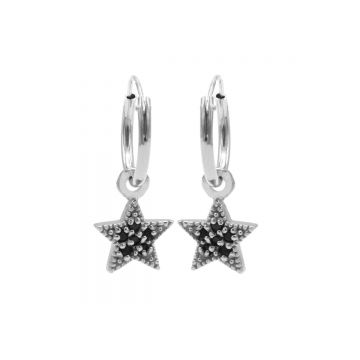 Hoops Symbol Black Zirconia Star Dots Silver (3pack)