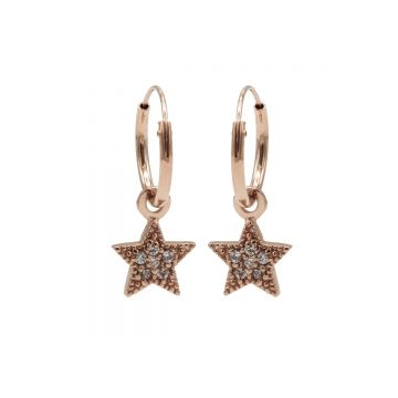 Hoops Symbol Zirconia Star Dots Roseplated (3pack)