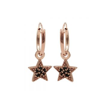 Hoops Symbol Black Zirconia Star Dots Roseplated (3pack)
